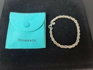 "Vintage  Tiffany & Co. 925 & 750 (18k) Gold 7"" Rope Chain Bracelet"