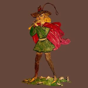 🎁 1940er Rattenfänger von Hameln 21cm Märchen-Holzbild Ratten Cape Vintage ALT