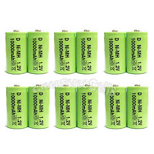 12 pcs D size 10000mAh 1.2V Volt Ni-MH Rechargeable Battery Cell LR20 US Stock