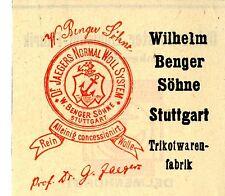 Wilhelm Benger Söhne Stuttgart TRIKOTWAREN-FABRIK Trademark 1908
