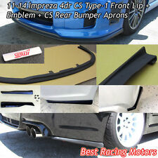 CS Type-1 Style Front + Rear Lip Aprons + STi Emblem Fit 11-14 Impreza 4dr