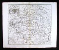1859 Duvotenay Map Seine Valley Paris - Chartres Reims Beauvais  Napoleon France
