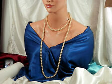 Showy Vintage 1940 Heavy Long Faux Pearl Necklace 941jl
