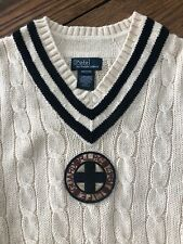 Boys Polo Ralph Lauren Cotton V Neck Classic Tennis Style Cotton Sweater 12/14
