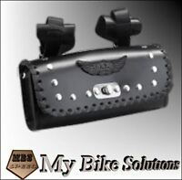 Leather Motorcycle motorbike universal fit Flat tool roll saddle bag AC-18