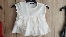 BNWT Mexx baby cute cream t-shirt broderie trim frills 9-12mths short sleeve