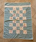 Vintage Handmade Blue & White Colorfully Embroidered Animals Baby Quilt Blanket