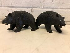 Vintage Asian Wooden Carved Pair of Bear Figurines