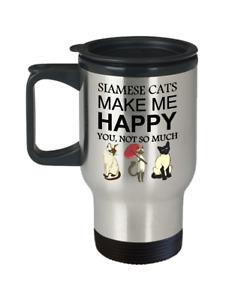Siamese Cat Travel Mug, Siamese Cats Make Me Happy, 15oz White Coffee Tea Cup