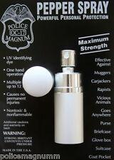 Police Magnum .75oz mace Silver Round Lipstick Pepper Spray Defense Security