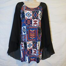 Trac Print Woman Dress Size Medium Southwestern Style Draped Sleeve Made In USA