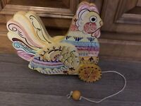 Vintage Color  Rooster Chicken Pull Toy Hand Painted Folk ART Artist Signed Wood