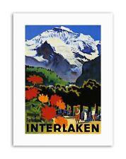 INTERLAKEN SWISS ALPINE RESORT MOUNTAIN FLOWER Poster Travel Canvas art Prints