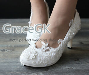 Lace bridal crystal wedding shoes pearls low high heel flat bridesmaid prom shoe