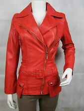 Ladies Red Napa Leather Slim Tight Fitted Biker Fashions Jacket Bike