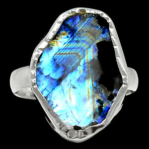 Rainbow Moonstone And Quartz 925 Sterling Silver Ring Jewelry s.6.5 BR97534