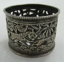 TIGER ATTACKING DOG ELEPHANT VINTAGE SILVER/SILVER-PLATED FILIGREE NAPKIN RING*