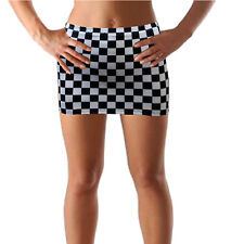 Racing Mini Skirt Black White Check Bodycon Sexy Fancy Dress Party Womens CS145
