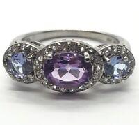 Vintage Sterling Silver Ring 925 Size 8.25 Amethyst Tanzanite Lab Thailand