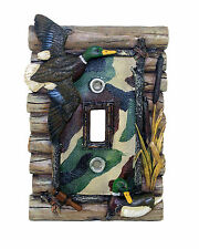 Lodge Rustic Log Cabin Home Decor Duck Hunting Single Light Switch Plate Cover