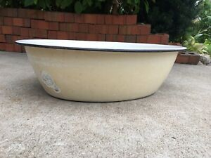 "Vintage Enamel Ware Tub Basin Oval Wash Bowl 17"" White Tan Black Baby Bath"