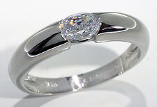 Modern Band Ring 10k White Gold Oval Shape Cubic Zirconia