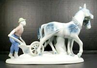 Gerold Porzellan Bavaria Farmer Horses Plow Porcelain Hand Painted Vintage Figur