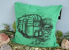 POTTERY BARN BURTON GRAPHIC CAMPER PILLOW COVER –NWT– TAKE A TRIP TO COOL DÉCOR!