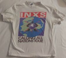 INXS CALLING ALL NATIONS 1988 TSHIRT VINTAGE, rare, hanes tag, white, rock, 80's
