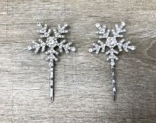 Silver Snowflake Christmas Sparkly Hair Grips - Set of 2