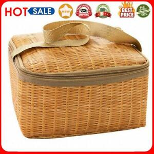 Portable Wicker Rattan Outdoor Camping Picnic Bag Food Container Basket