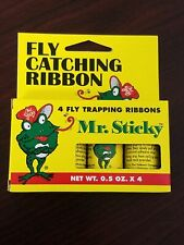 Mr Sticky Fly Catching Trapping Adhesive Hanging Ribbons 4 Pack Natural Pest