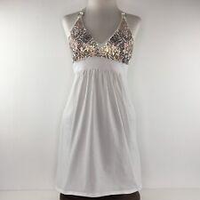 Victoria Secrets White Bra Top Gold Sequin Halter Dress  |  Womens Small