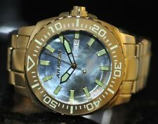 Mens Aragon Parma Automatic Blue Mother-of-Pearl Dial Gold Stainless Steel Watch