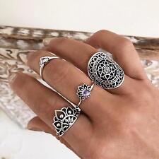 4Pcs/Set Vintage Ethnic Bohemian Knuckle Carved Lotus Flower Midi Ring Jewelry
