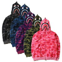 2019 Bathing Ape Bape Shark Jaw Camo Full Zipper Hoodie Men's Sweats Coat Jacket