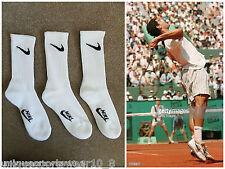 3 PAIA Vintage 90s NIKE SWOOSH Tennis Crew Socks Sampras Agassi BIANCO OG UK 6 7 8 9