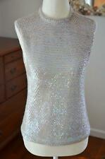 Gorgeous! Vtg 60s Iridescent Sequin Wool Evening GoGo Back Zip Party Top! S