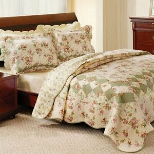 Green Ivory Pink Floral Country 3 pc Cotton Quilt Set Twin Full Queen King Bed