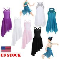 US Girls Lyrical Dress Ballet Dance Gym Leotard Dance Wear Contemporary Costume