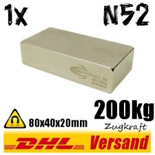 Neodymium Magnet High Power Block 80x40x20mm 8x4x2cm N52 200kg Pull Strength
