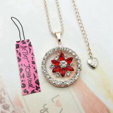 Betsey Johnson Women Crystal Red flowers Pendant Long Chain Sweater Necklace