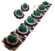 HATTIE CARNEGIE Emerald, Ruby, Diamante 6-Link Bracelet and Clip Earrings Set