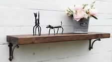 Solid wood Chunky Rustic Mantel shelf shelves with INDUSTRIAL Shelf Brackets