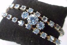 Superbe bracelet ancien bijou vintage couleur argent cristaux aigue marine 539