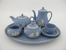 Mini Wedgwood Blue Miniature Jasper Lidded Tea Coffee Set & Tray  1st Quality