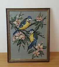 Vintage Framed Needlepoint Picture Blue Tits on cherry blossom