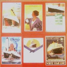 Unused set of 6 postcards showing famous Cunard Line Shipping Posters