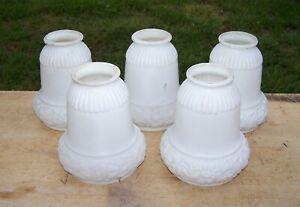 """Vintage Glass Lampshades Set of 5 Floral Design 2-1/4"""" Fitter"""