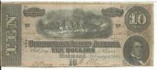 CSA 1864 Confederate Currency T68 $10 Note Horses pull Cannon Caisson#100134 AU